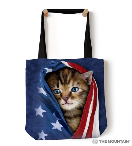 "9739412 Patriotic Kitten 18"" Tote Bag"