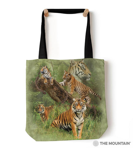 "9758882 Wild Tiger Collage 18"" Tote Bag"
