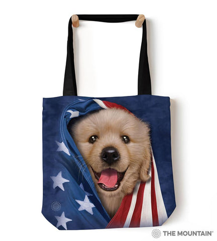 "9759052 Patriotic Golden Pup 18"" Tote Bag"