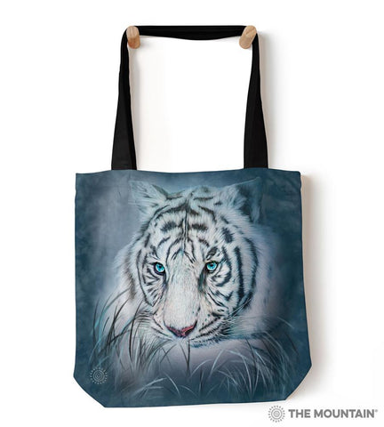 "9759642 Thoughtful White Tiger 18"" Tote Bag"