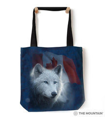 "9761222 Canadian White Wolf 18"" Tote Bag"