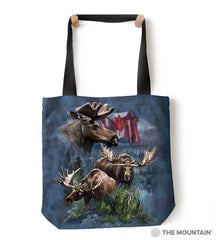 "9761242 Canadian Moose Collage 18"" Tote Bag"