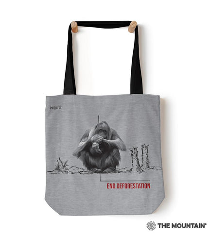 "55702 Deforestation Orangutan 18"" Tote Bag"