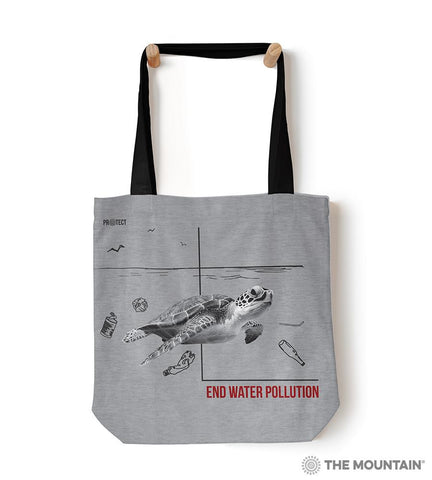 "5574 Water Pollution Turtle 18"" Tote Bag"