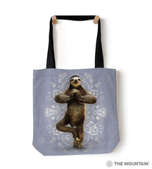 "6287 Namaste Sloth 18"" Tote Bag"
