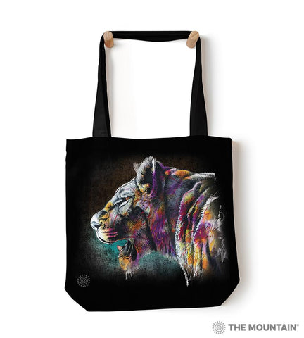 "6323 Painted Lion 18"" Tote Bag"