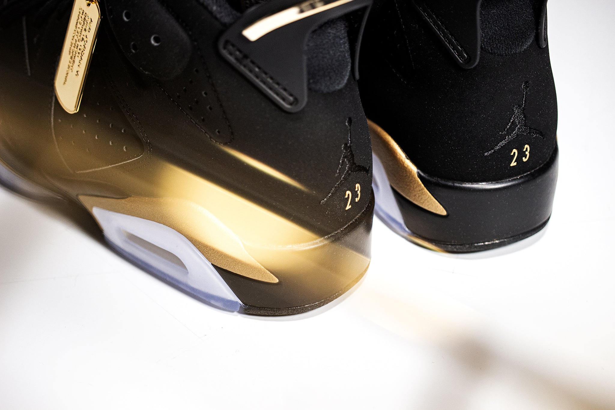 Macro view of jordan 6 dmp heel side details