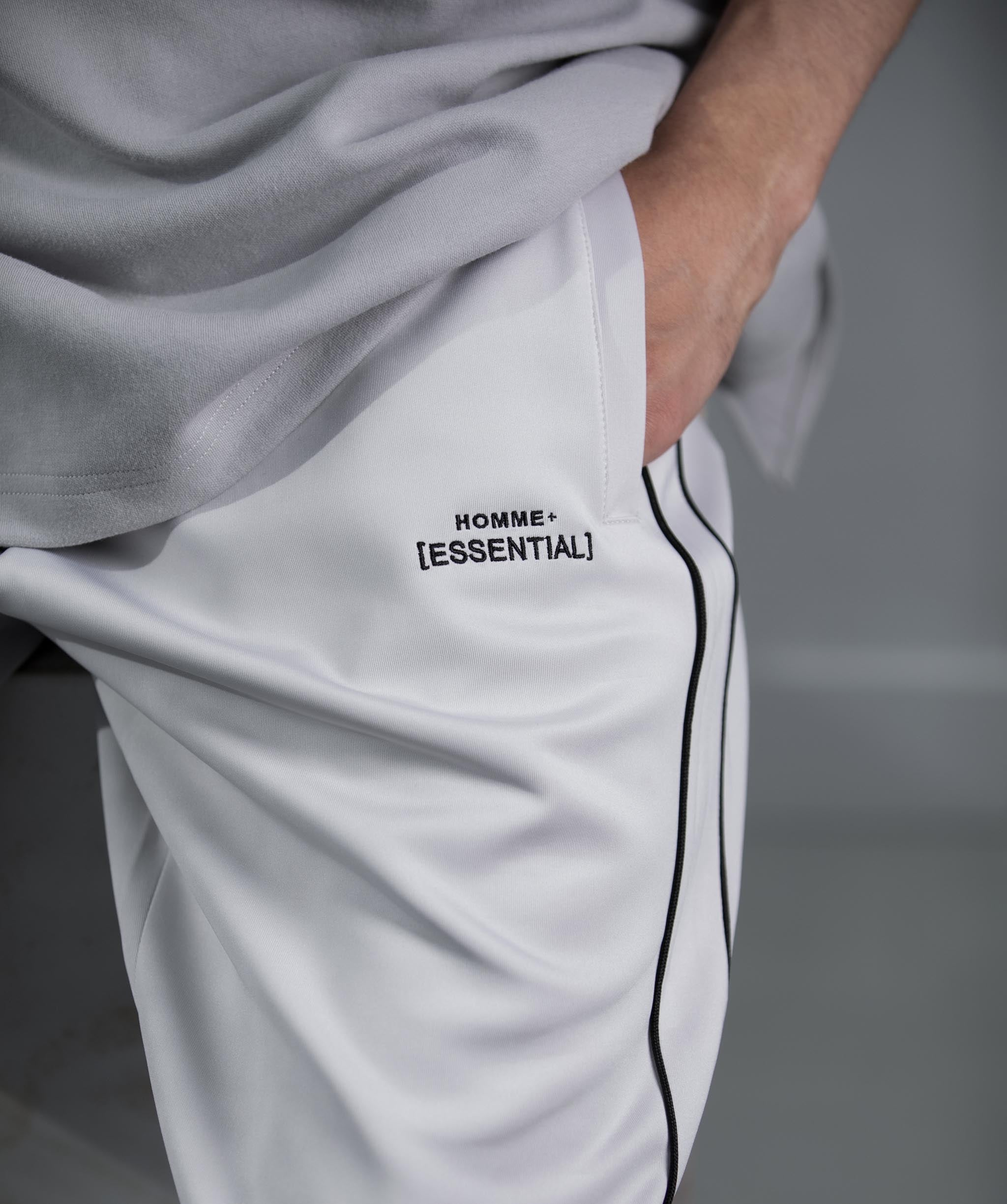 HOMME+ 'ESSENTIAL' Double Piped Trackpants - 1