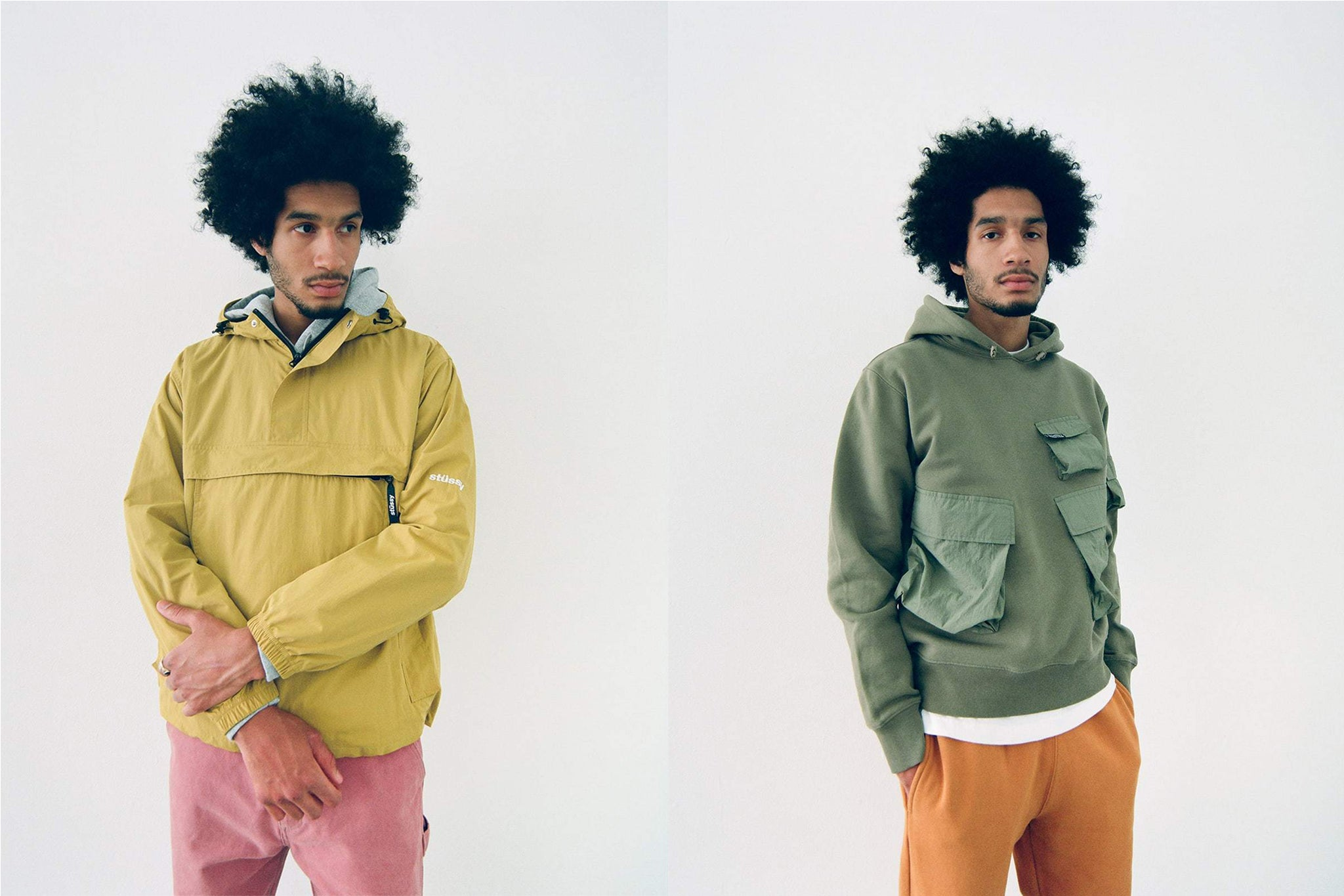 Male model posing in two Stussy spring outfits in yellow and olive