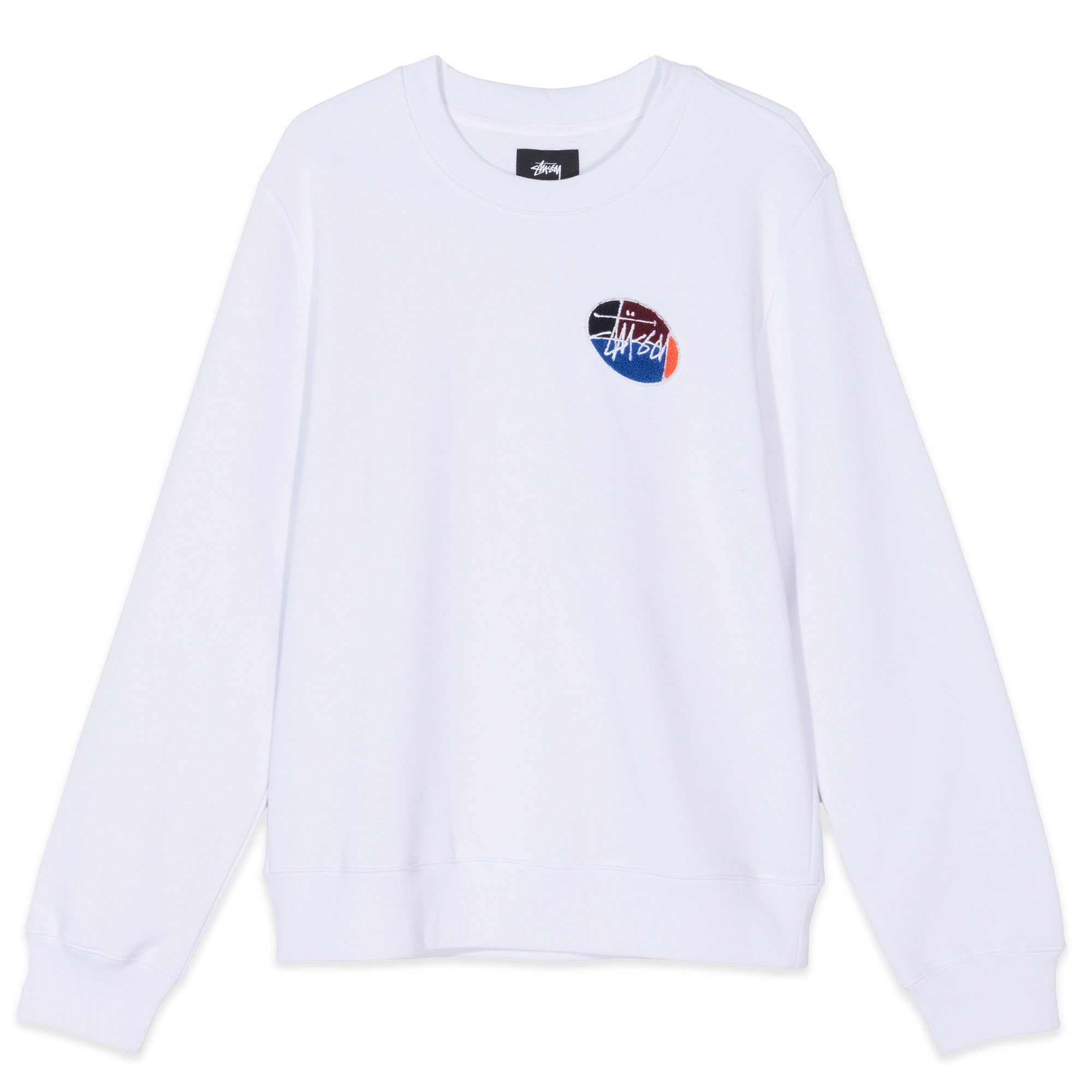 Stussy Quarter Oval Fleece Crewneck White