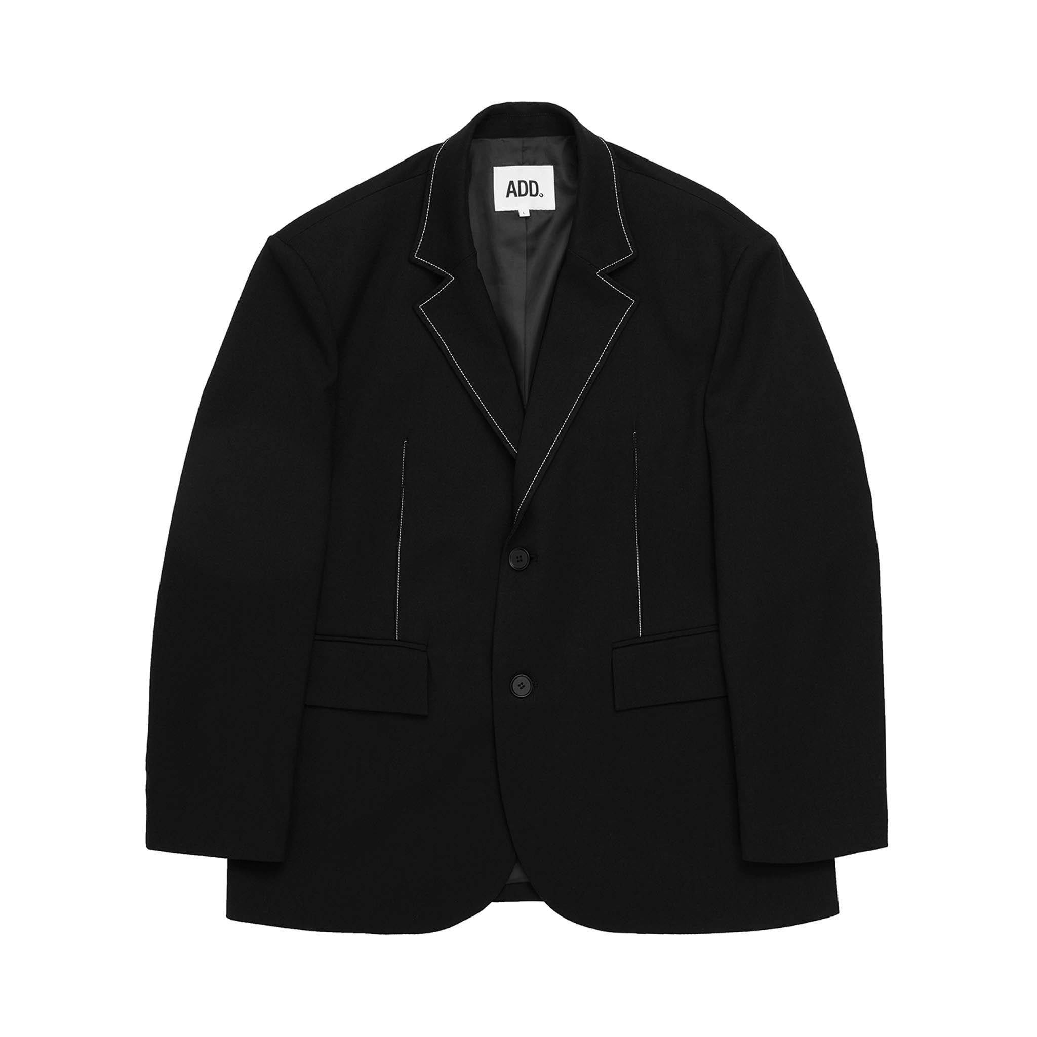 ADD Contrast Stitch Blazer Black