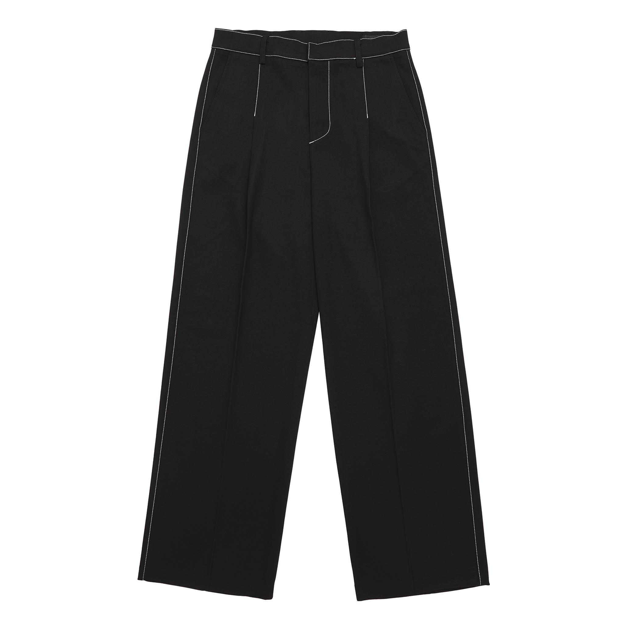 ADD Contrast Stitch Wool Wide Slacks Black