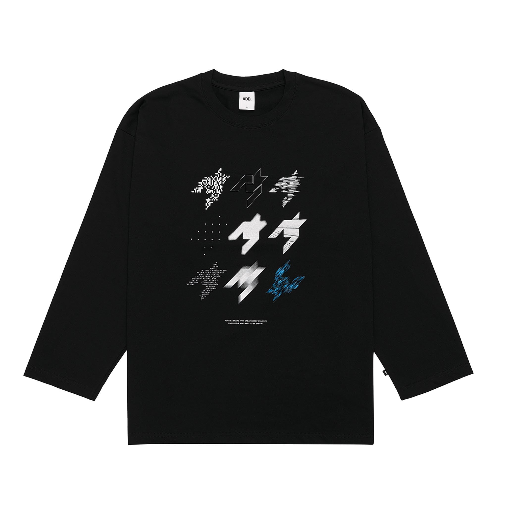 ADD Houndstooth Stamp L/S Tee Black