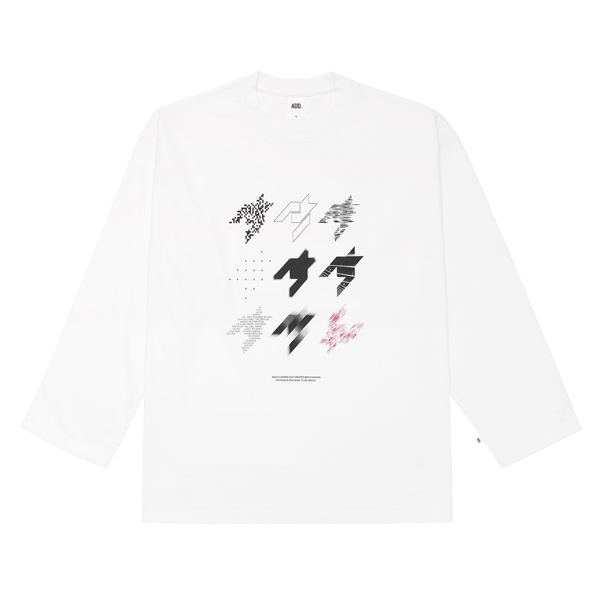 ADD Houndstooth Stamp L/S Tee White