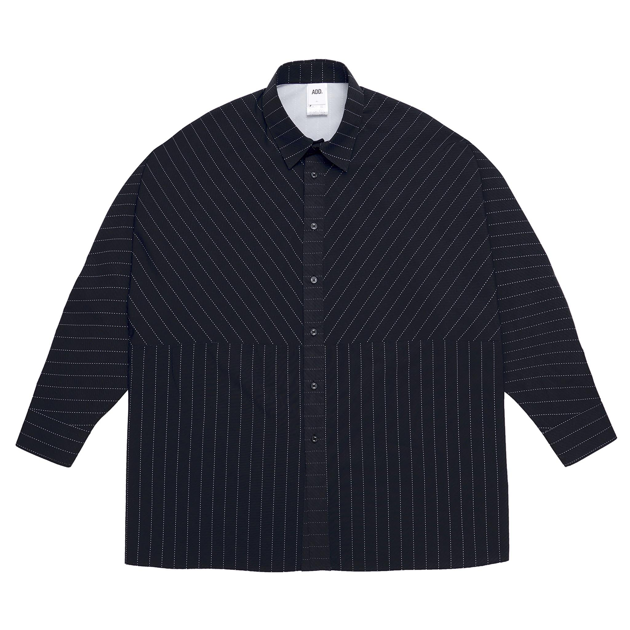 ADD Pinstripe Box Pattern Shirt Navy