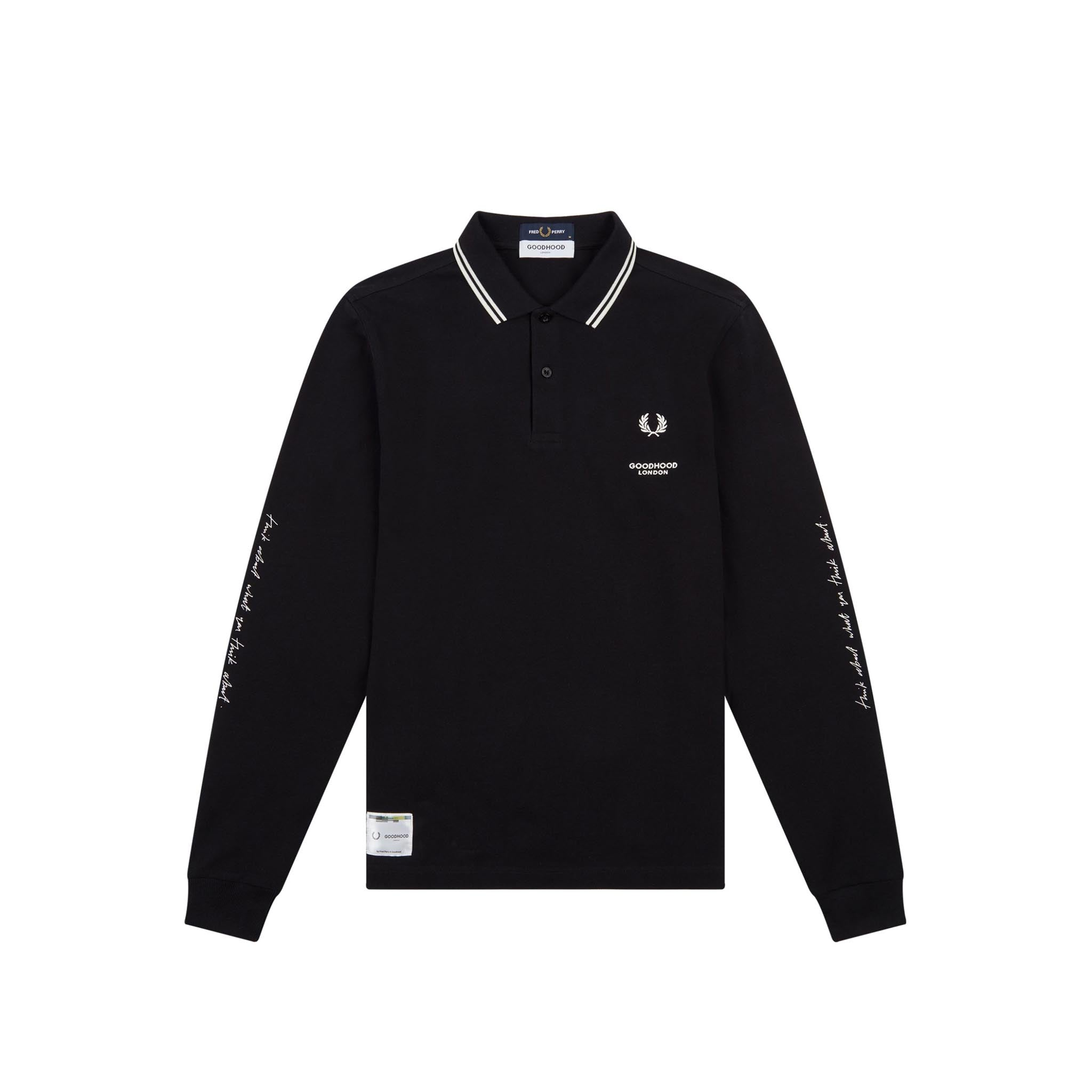 Fred Perry x Goodhood London Printed LS Polo Shirt Black
