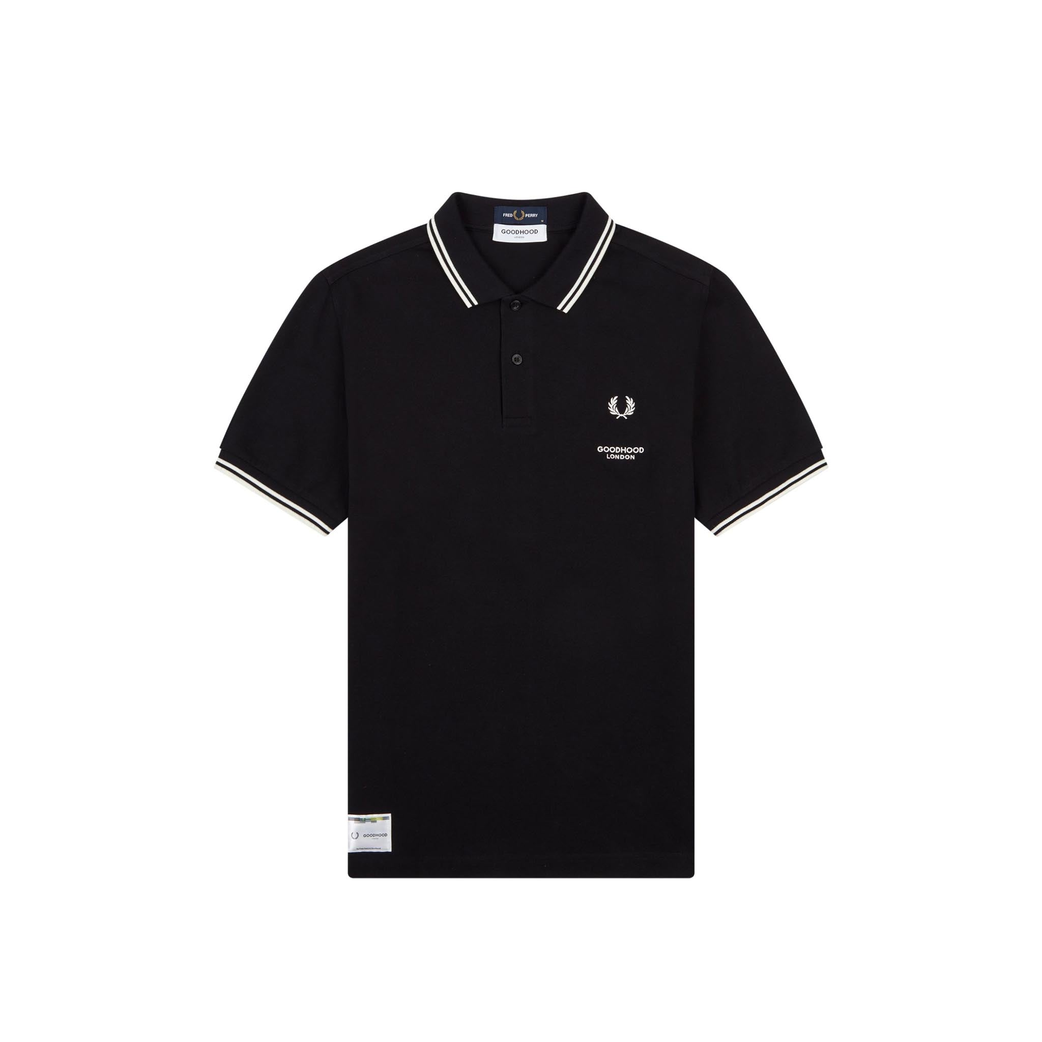 Fred Perry x Goodhood London Printed Polo Shirt Black