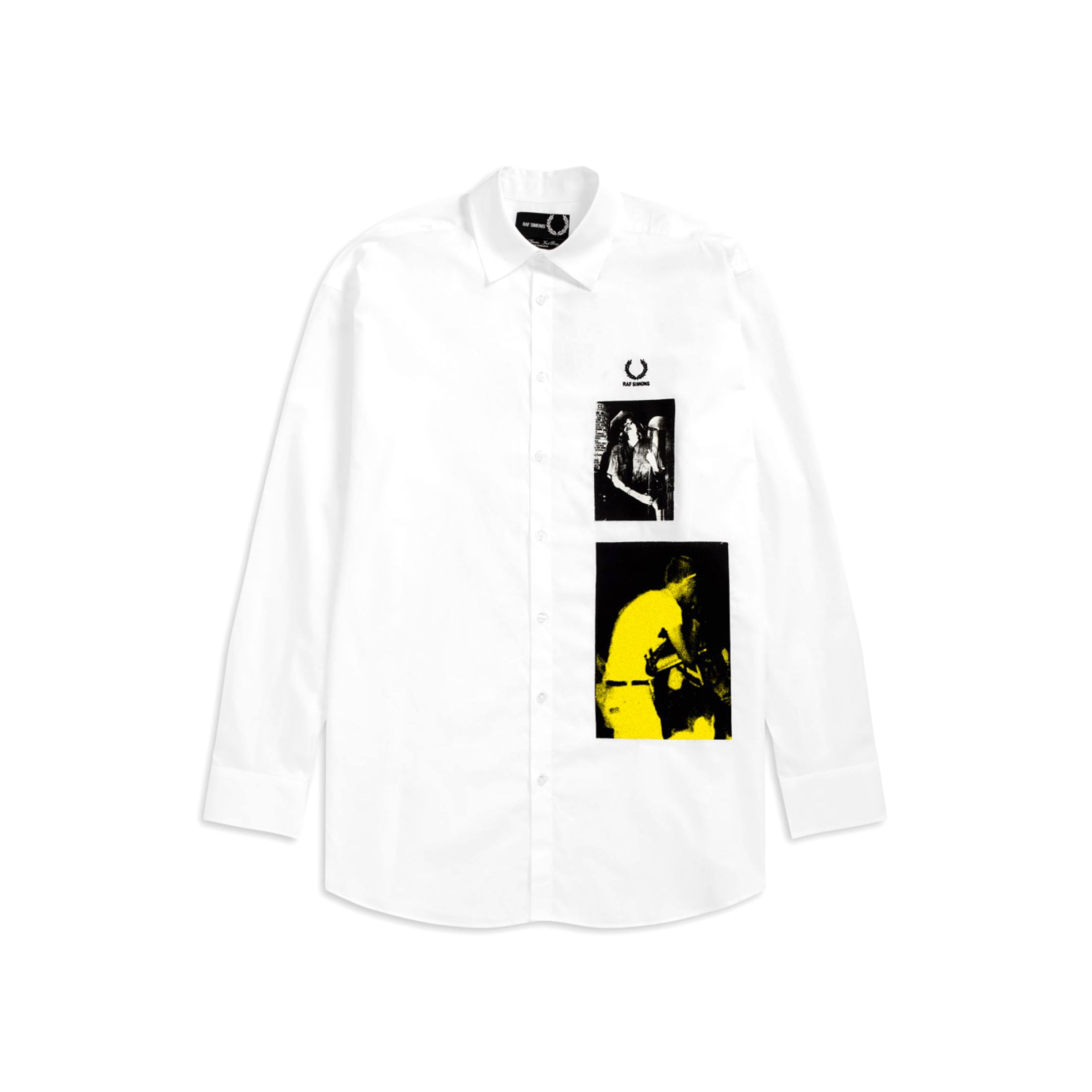 Fred Perry x Raf Simons Patched Oversized Shirt White