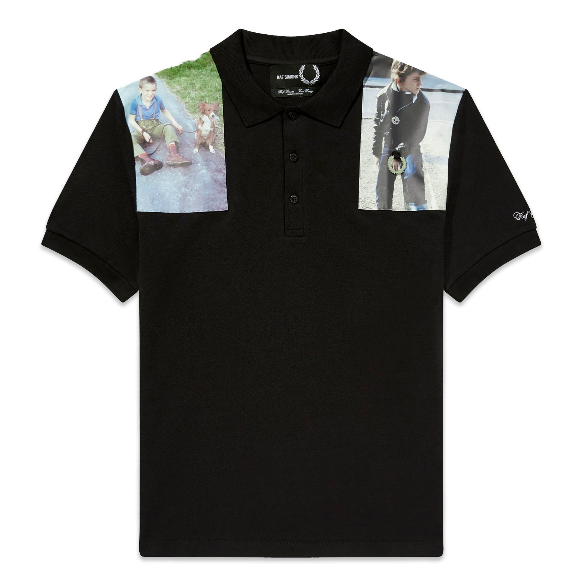 Fred Perry x Raf Simons Printed Patch Polo Black