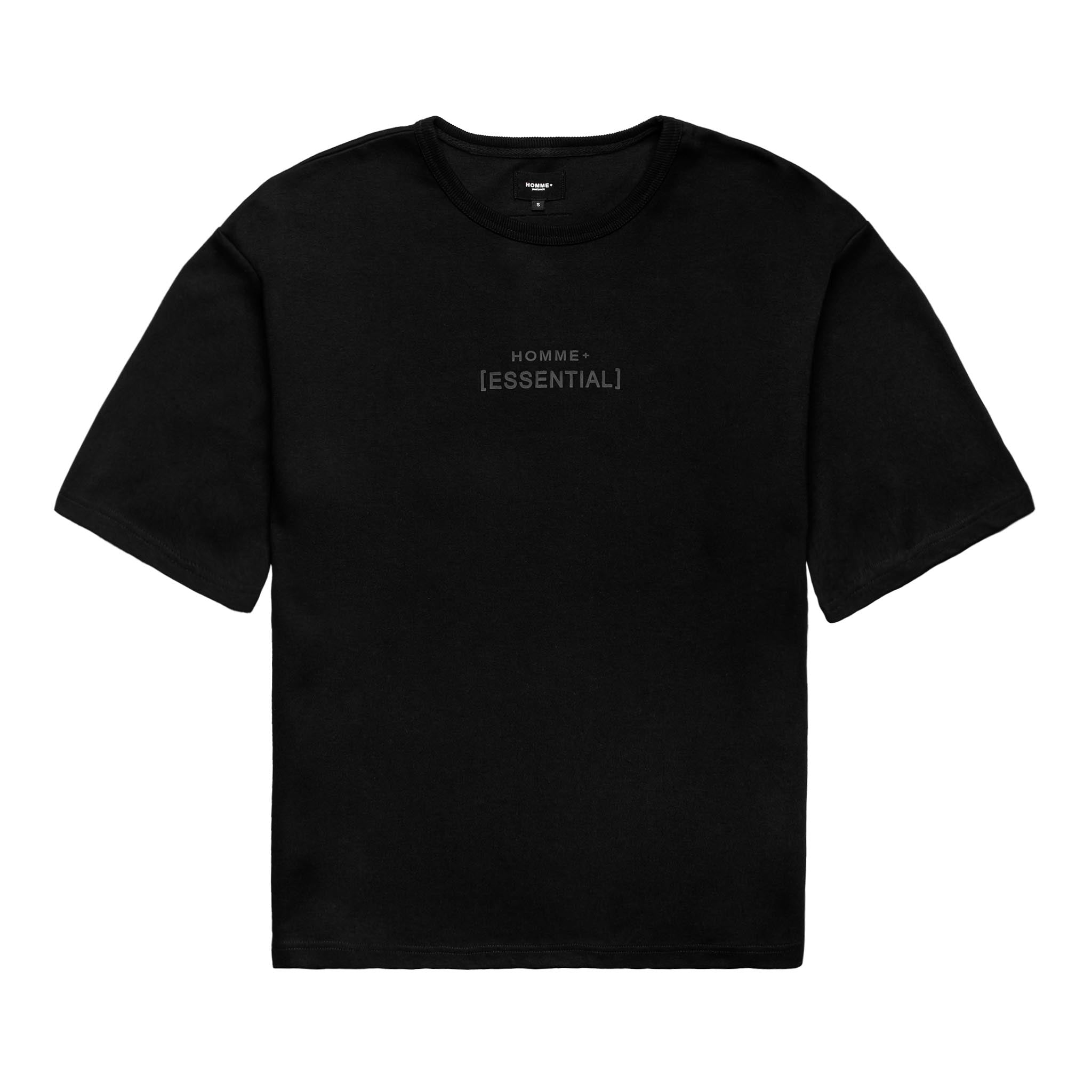 HOMME+ 'ESSENTIAL' Heavyweight Boxy Tee Black/Black