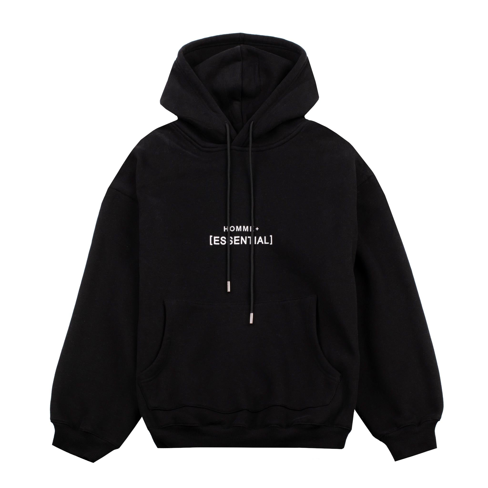 HOMME+ 'ESSENTIAL' Heavyweight Hoodie Black