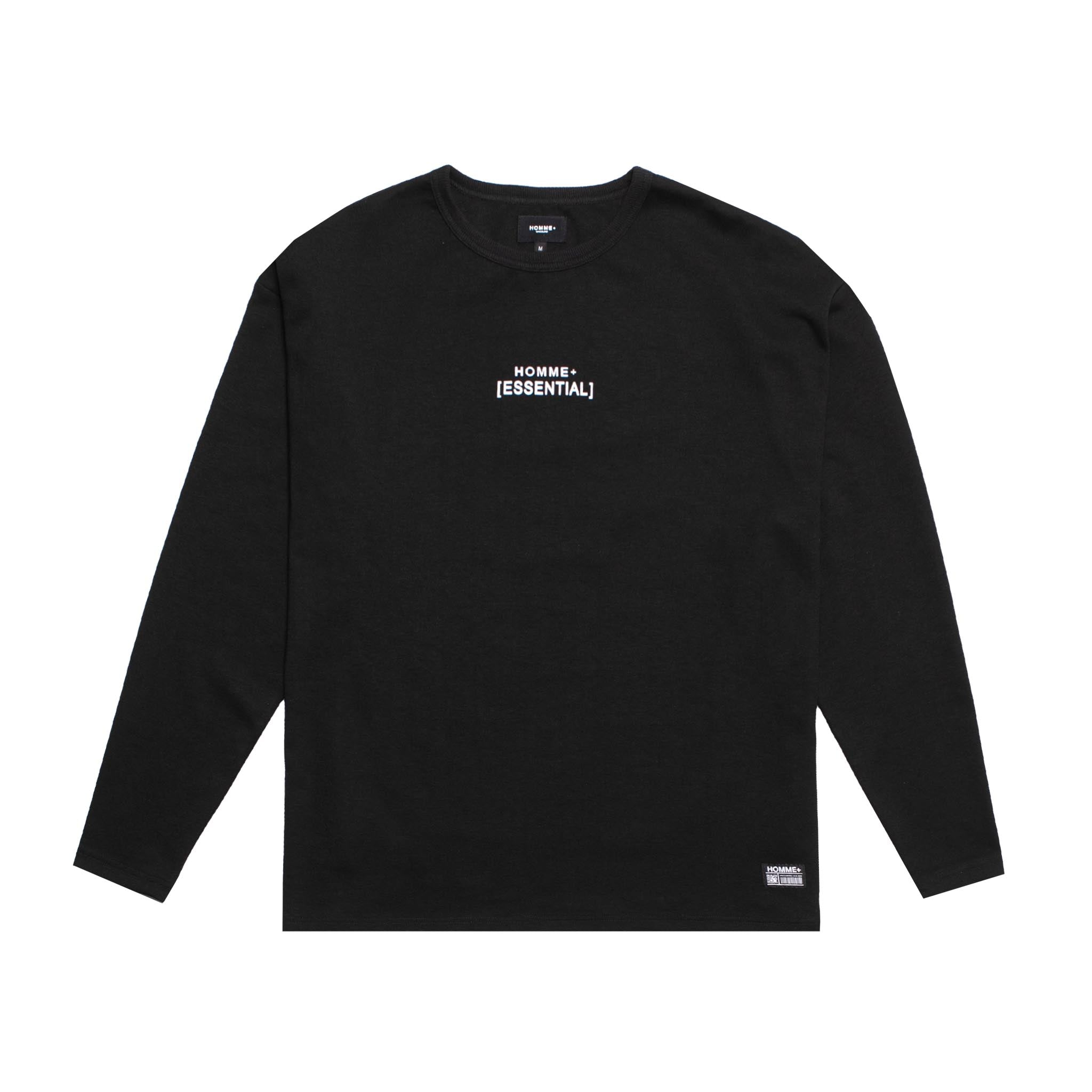 HOMME+ 'ESSENTIAL' Heavyweight L/S Tee Black
