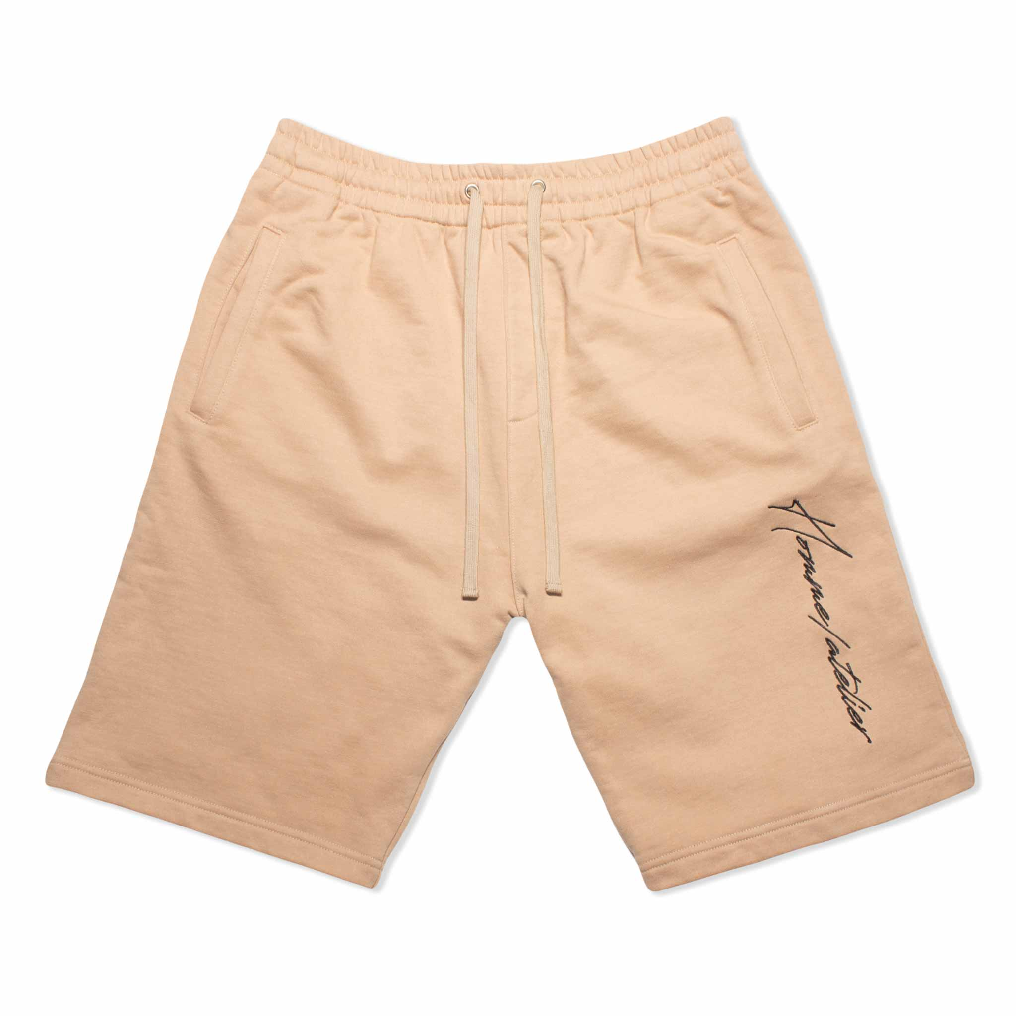 HOMME+ Embroidery Shorts Beige