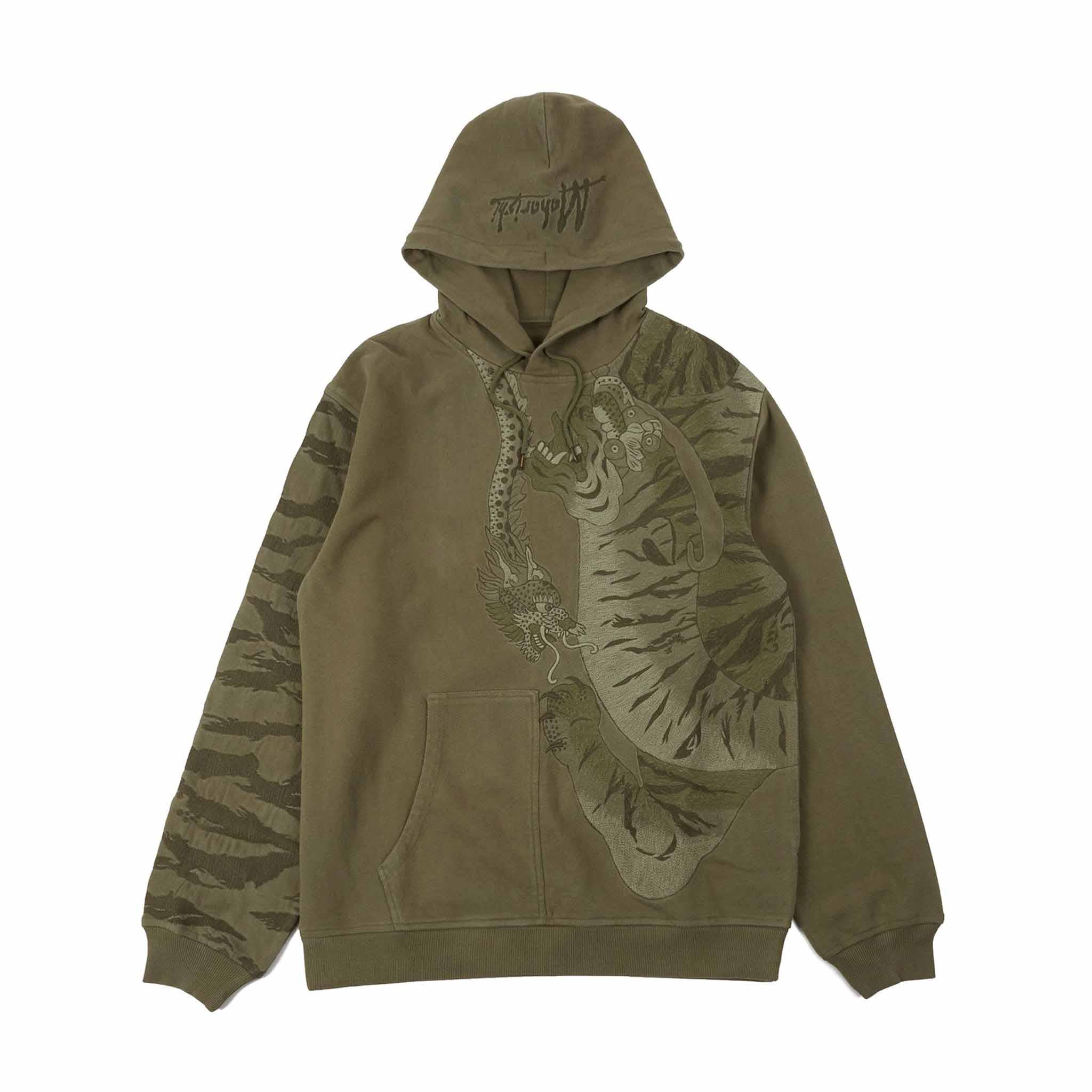 Maharishi Tonal Tiger Hooded Sweat Olive