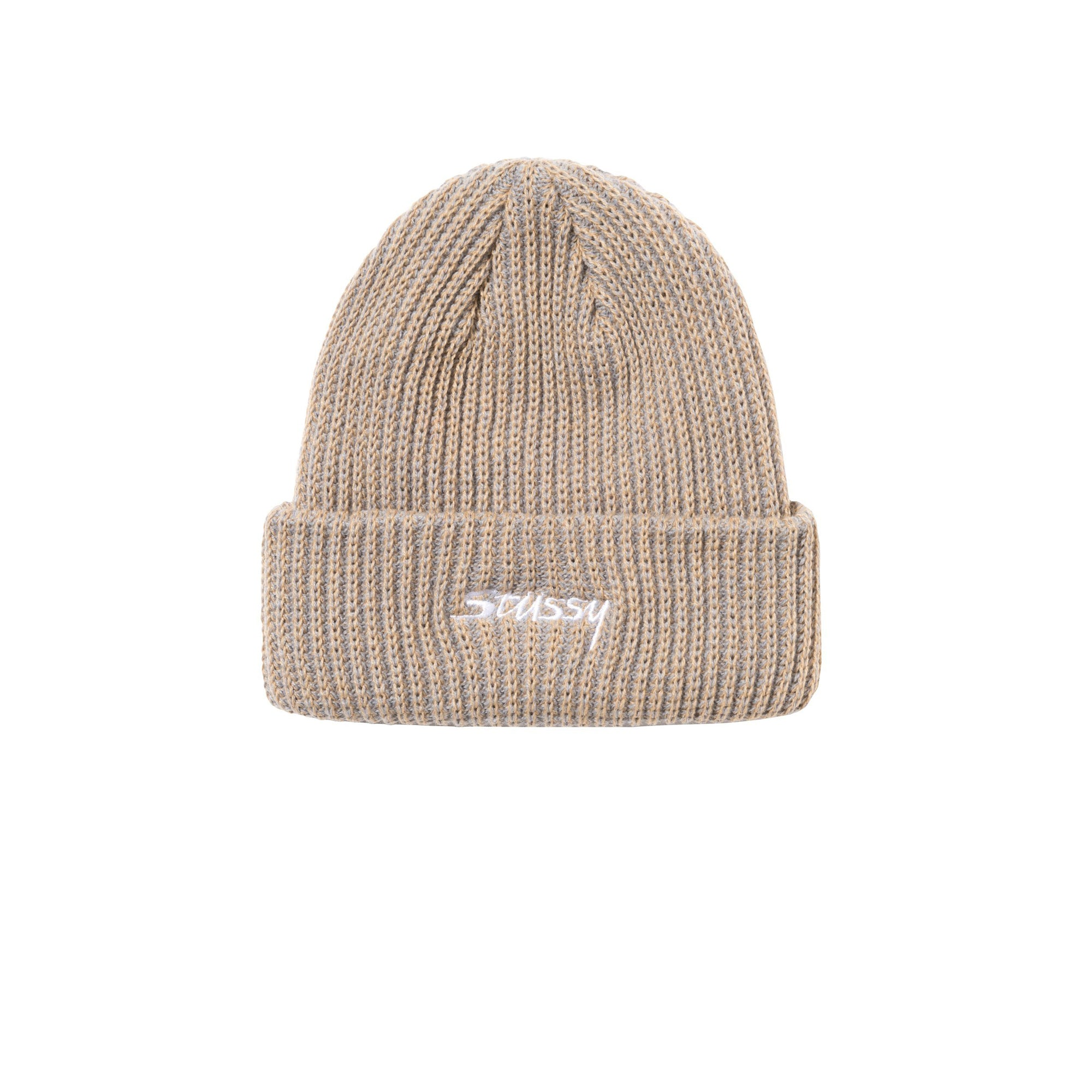 Stussy 2 Tone Knit Short Beanie Tan