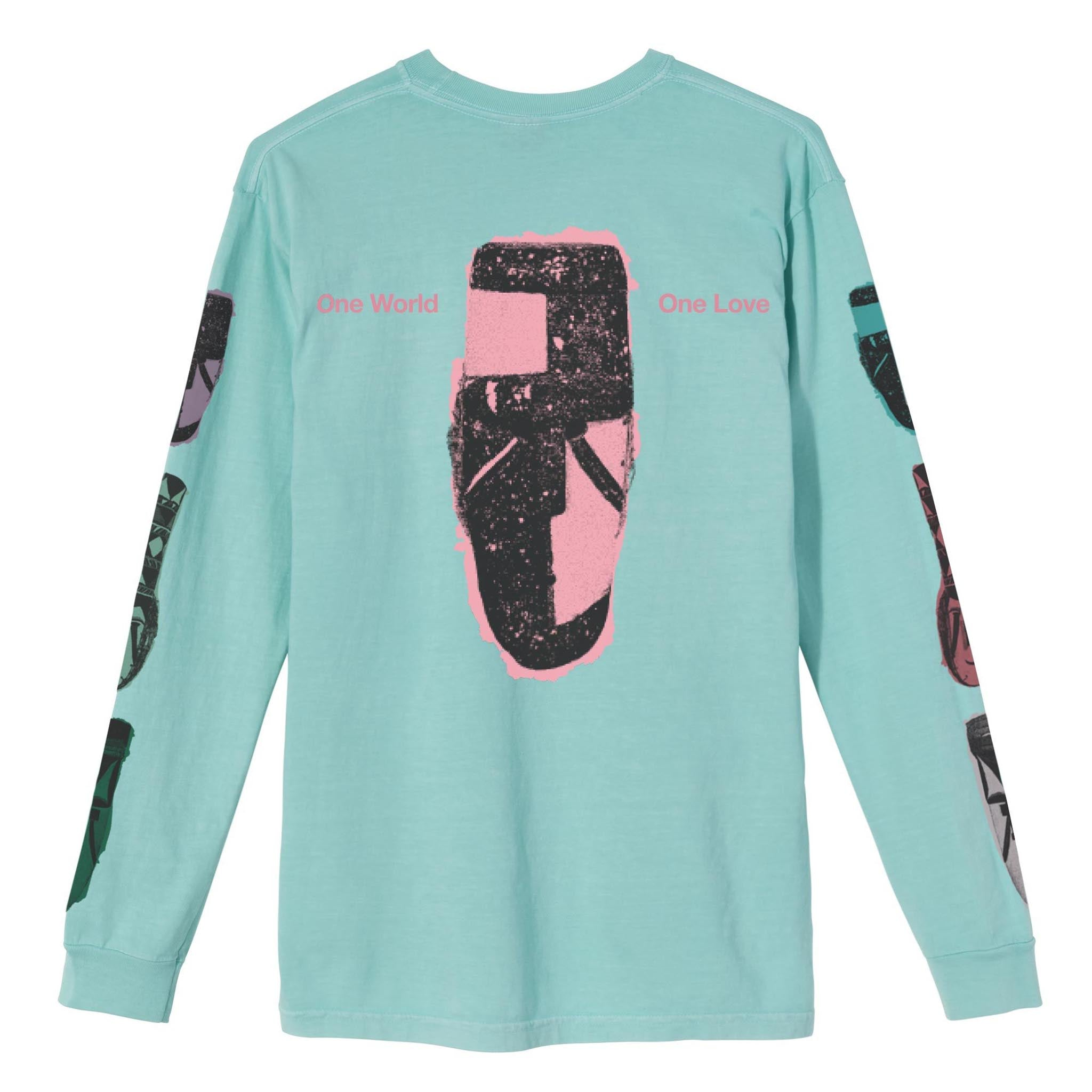 Stussy Autumn Masks Long Sleeve Tee Aqua
