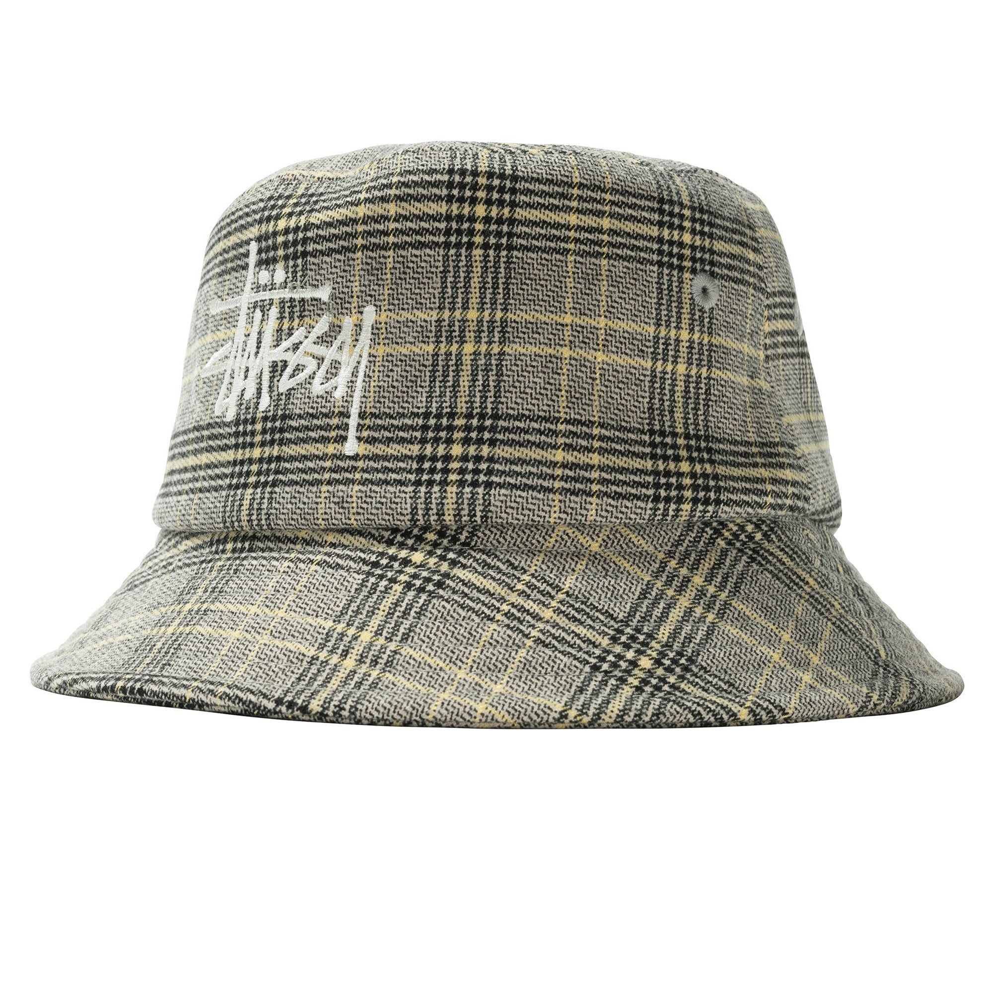 Stussy Big Logo Plaid Bucket Hat Off-White
