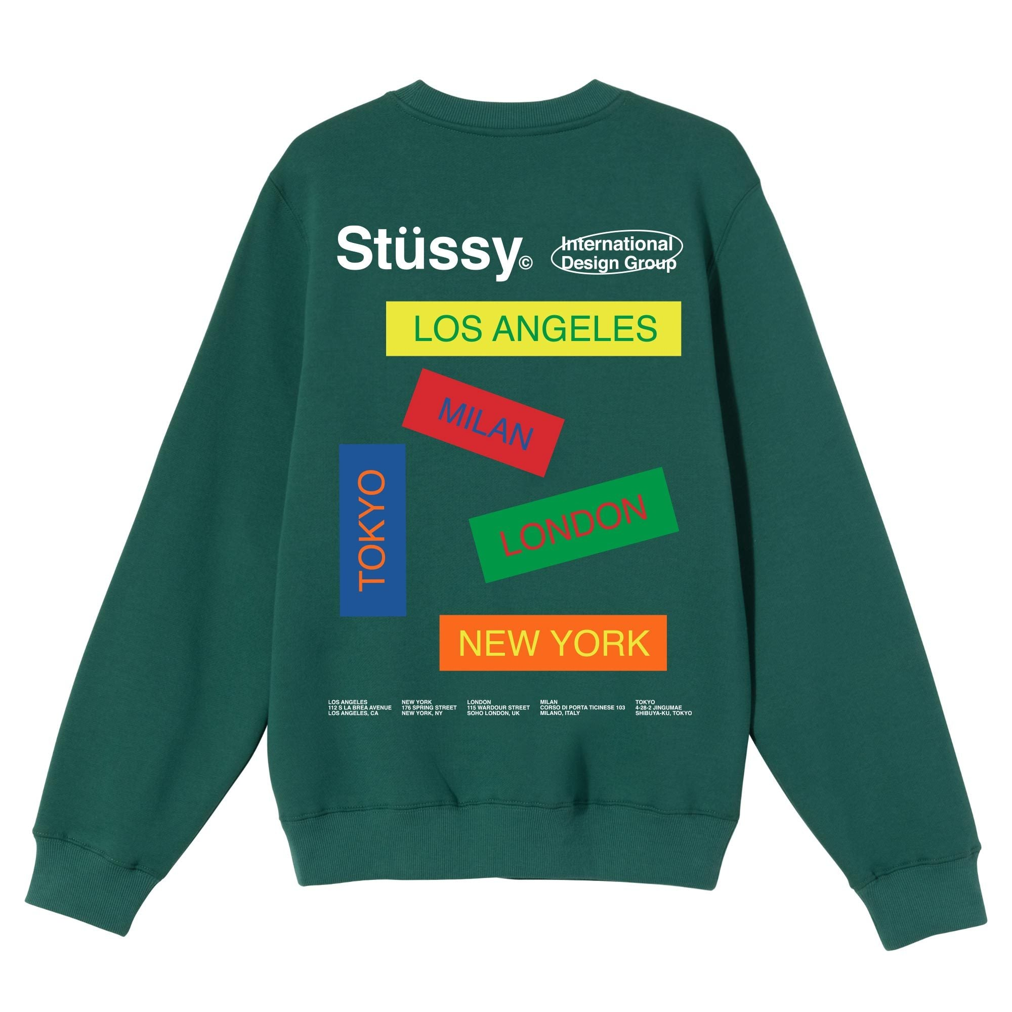Stussy City Banners Crew Dark Green