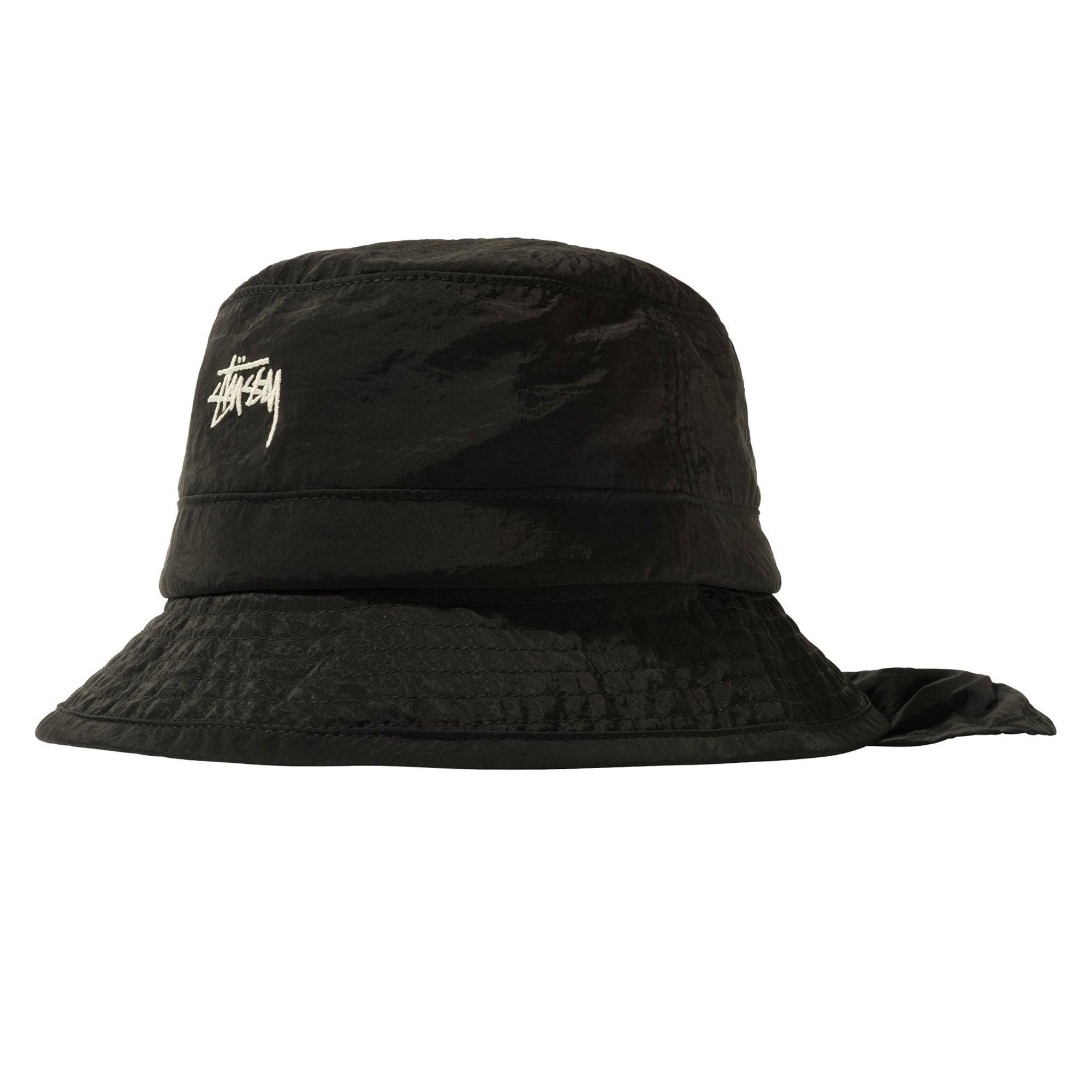 Stussy Metallic Nylon Bungee Bucket Hat Black