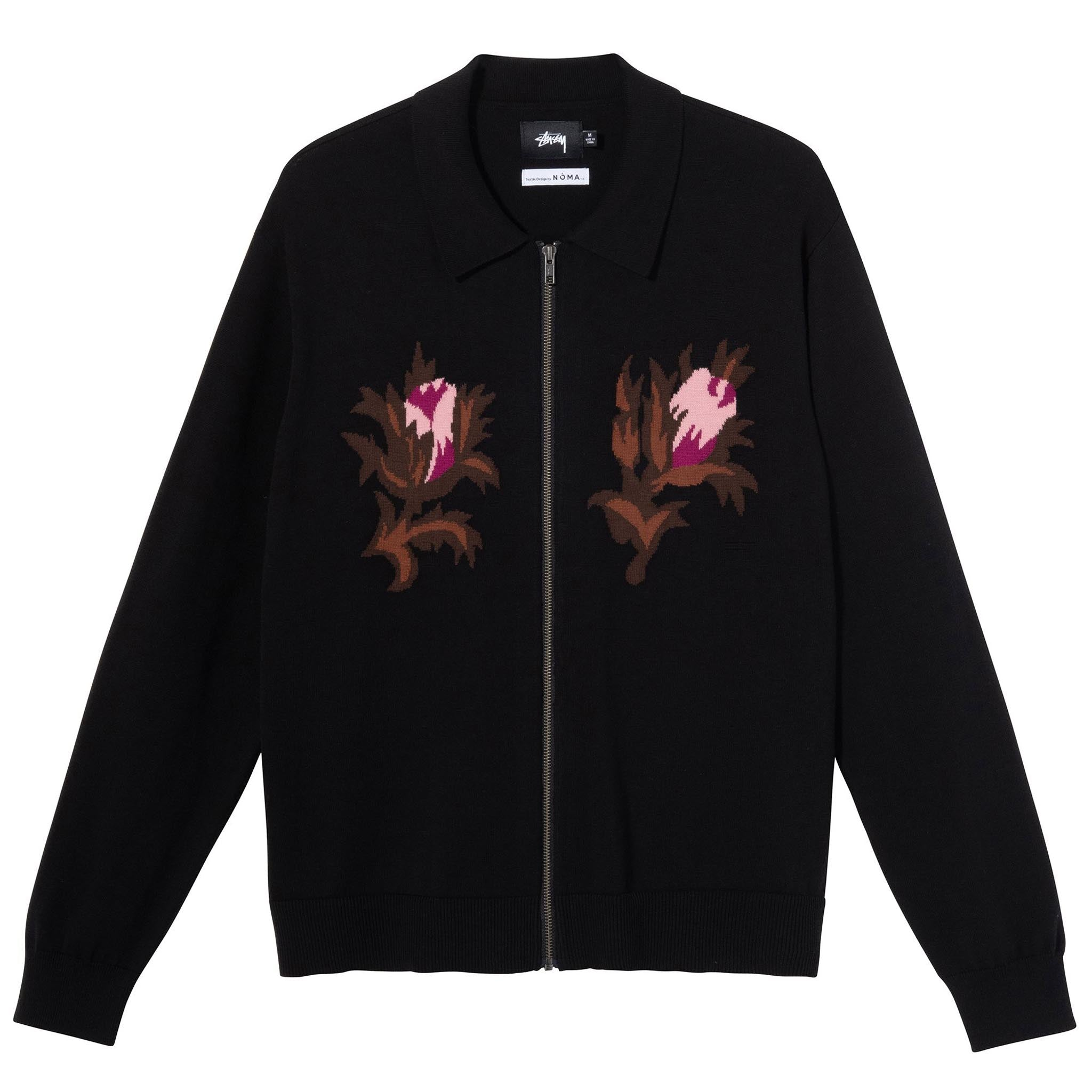 Stussy Rose thorn Long Sleeve Zip Sweater Black