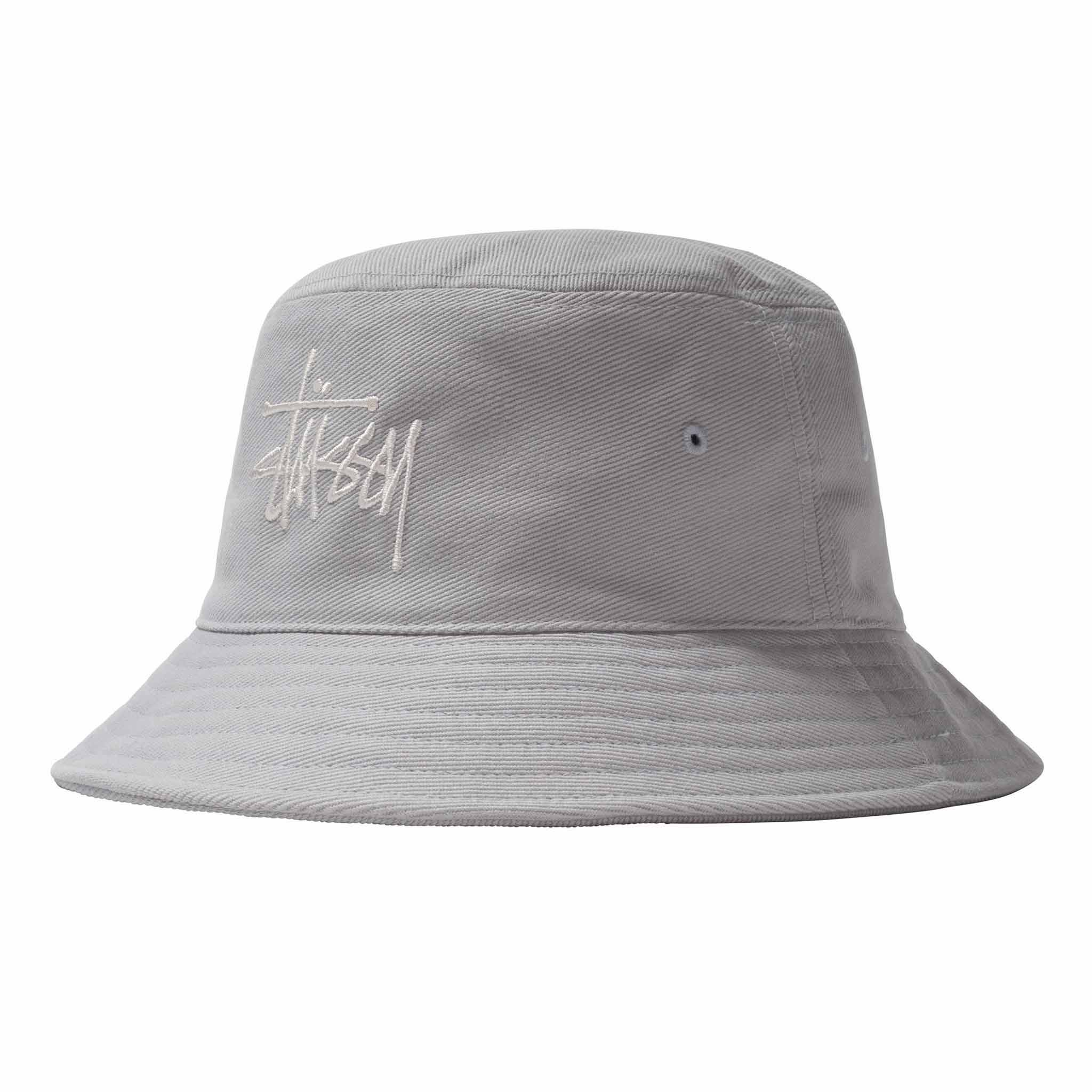 Stussy Big Logo Twill Bucket Hat Ice Blue
