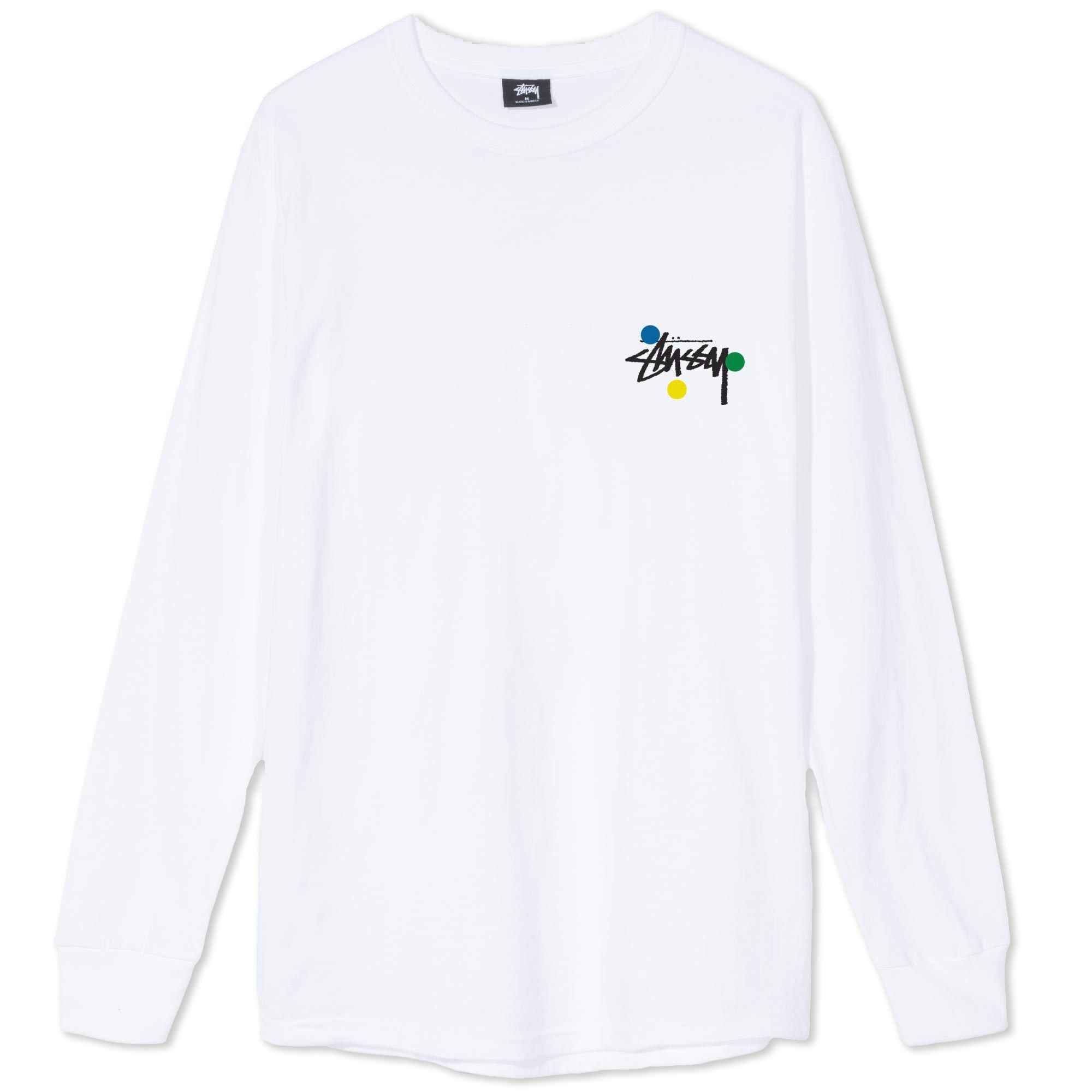 Stussy Dot Collage Long Sleeve Tee White