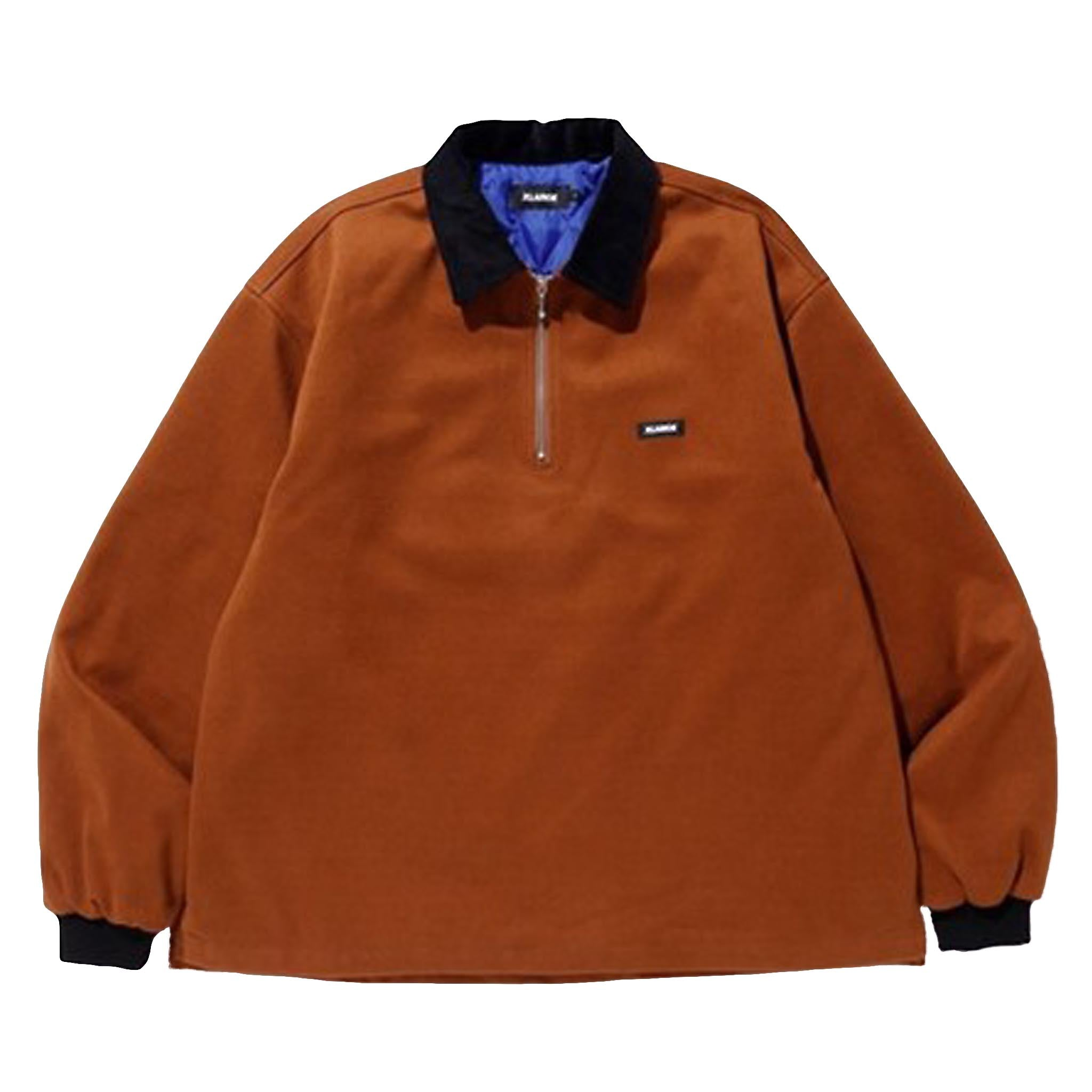 XLARGE Patched Half-Zip Shirt Brown