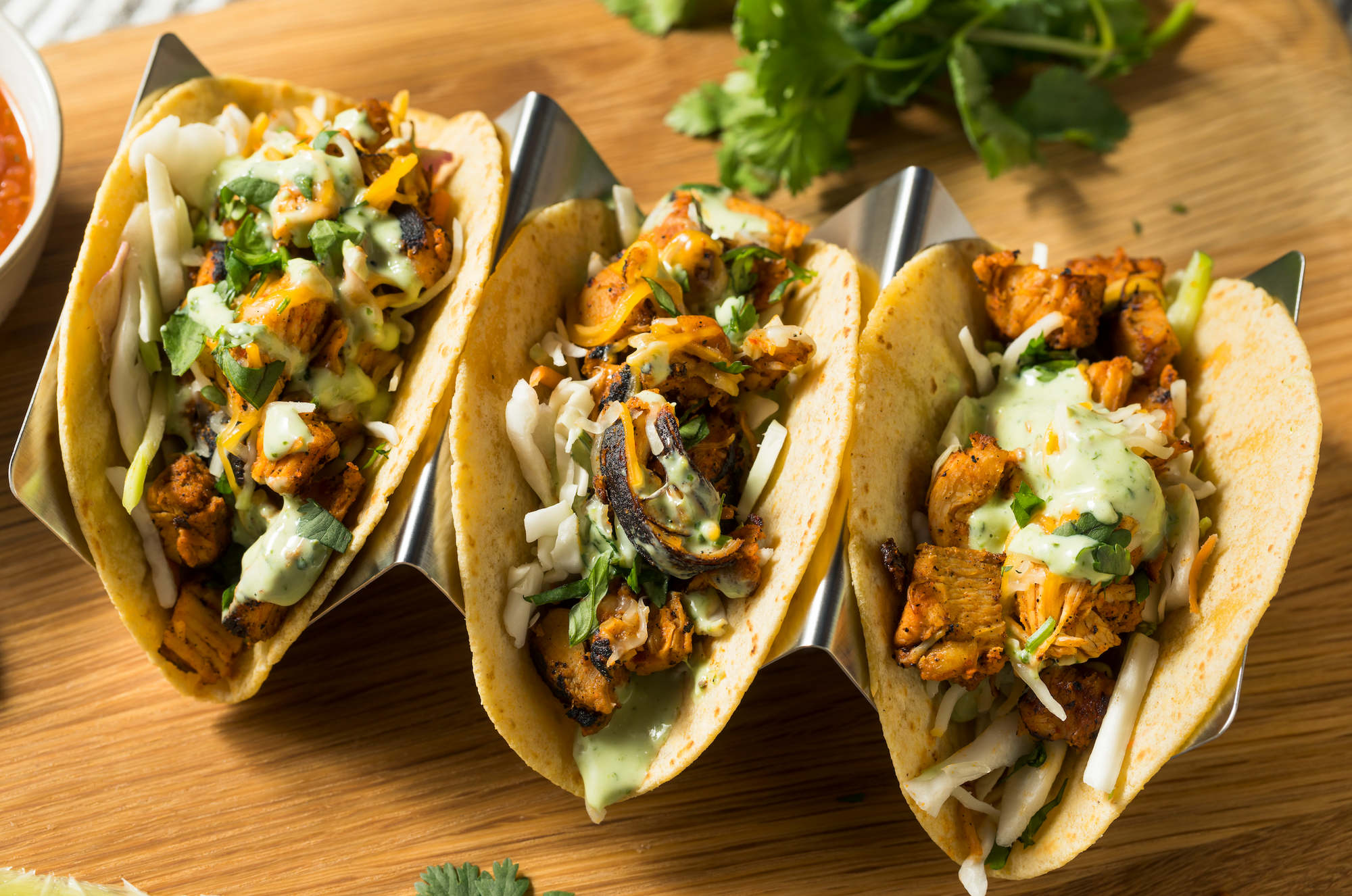 Authentic Chicken Tacos with Mint Salsa