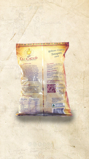 Back of a bag of White Corn Totopos (Mexican Corn Chips) sold online via El Cielo