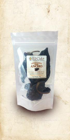Bag of Mexican ancho dried chile sold online via El Cielo