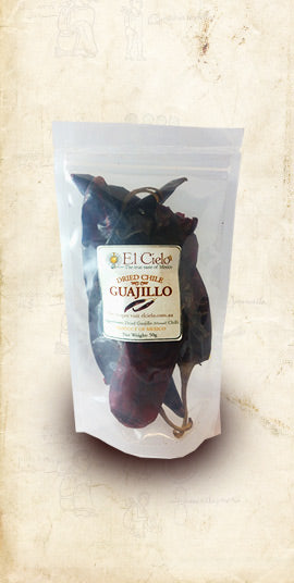 Bag of Mexican Guajillo dried chile sold online via El Cielo