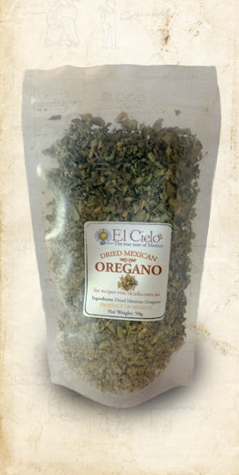 Bag of Mexican dried oregano sold online via El Cielo