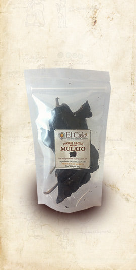 Bag of Mexican Mulato dried chile sold online via El Cielo