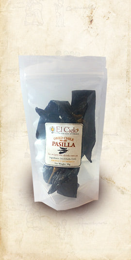 Bag of Pasilla Mexican dried chile sold online via El Cielo