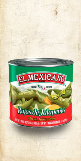 Large tin Mexican sliced jalapenos sold online via El Cielo