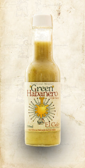 Bottle of El Cielo natural green habanero salsa