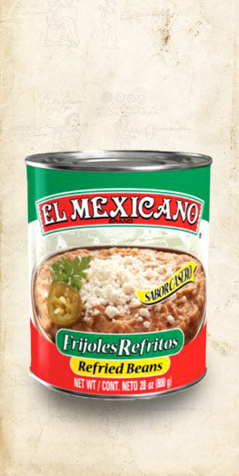 Tin of Mexican bayo refried beans sold online via El Cielo