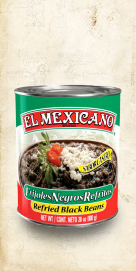 Tin of Mexican refried black beans sold online via El Cielo