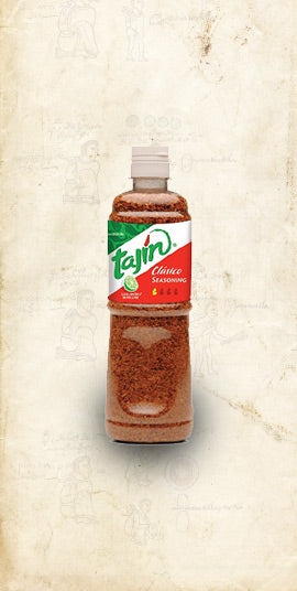 Bottle of Tajin chilli powder seasoning sold online via El Cielo