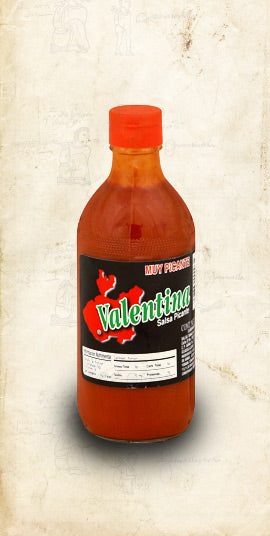 370ml bottle of Mexican Valentina Extra Hot Red Sauce sold online via El Celio